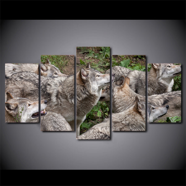 HD Printed 5 Piece Canvas Art Wild Brown Wolf Group Painting Modular Wall Pictures for Living Room Modern Free Shipping CU-2430B