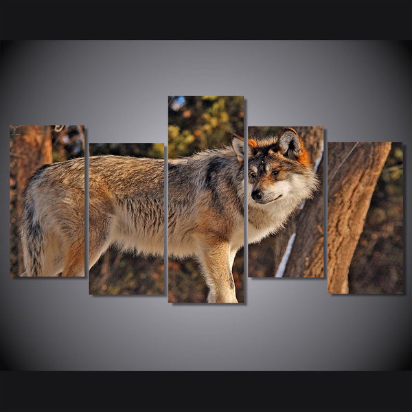 HD Printed 5 Piece Canvas Art Brown Wild Wolf  Painting Framed Wall Pictures for Living Room Decoration Free Shipping NY-7105A