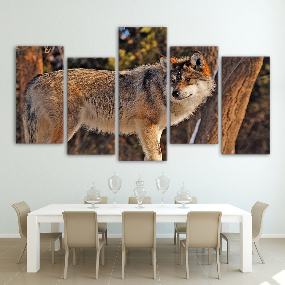 HD printed 5 piece canvas art wolf in forest painting wall pictures for living room modern free shipping NY-7105A