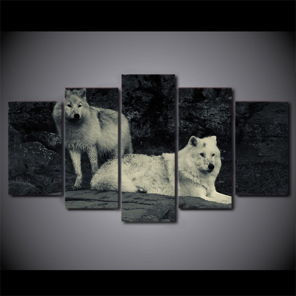 HD Printed 5 Piece Canvas Art White Wolf Painting Framed Modular Wall Pictures for Living Room Modern Free Shipping CU-2137C