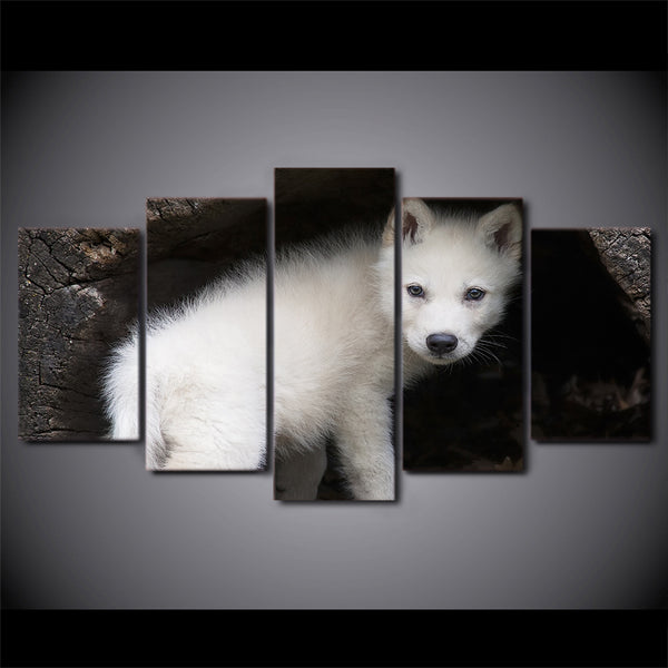 HD printed 5 Piece Canvas Art Wild White Wolf Cubs Painting Wall Pictures for living room Modern Modular Free Shipping CU-2298C