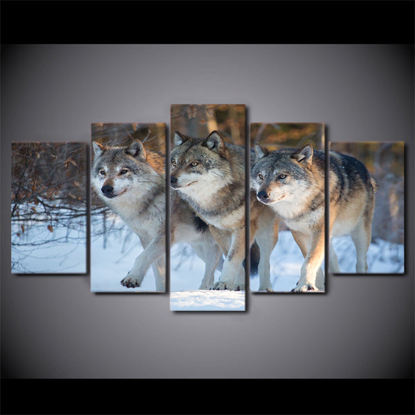 HD Printed 5 Piece Canvas Art Wolf Group Painting Modular Wall Pictures for Living Room Home Decoration Free Shipping CU-2366A