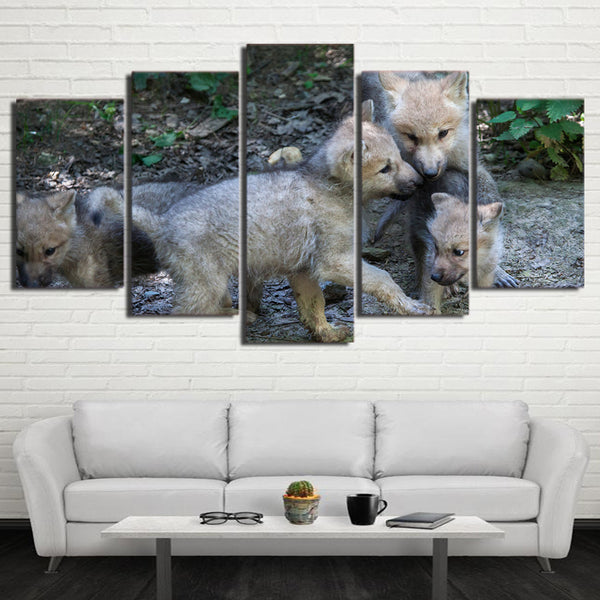 HD Printed 5 Piece Canvas Art Wild Wolf Cubs Painting Framed Modular Wall Pictures for Living Room Modern Free Shipping CU-2299C