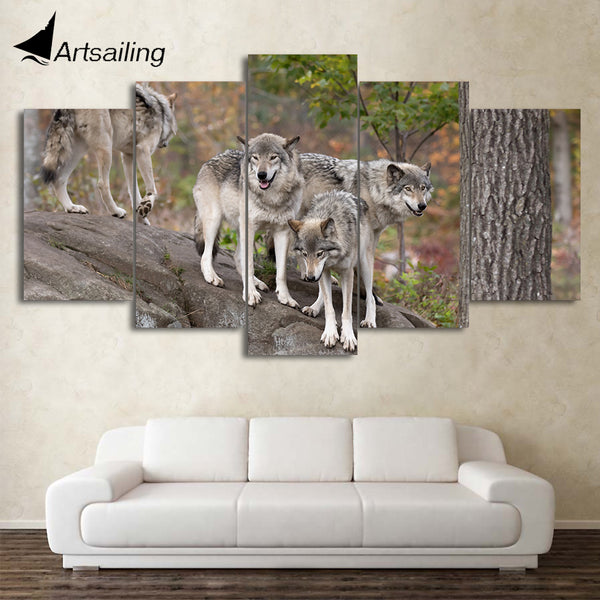 HD printed 5 Piece Canvas Art Wild Wolf Group Painting Wall Pictures for living room Modern Modular Free Shipping CU-2106C
