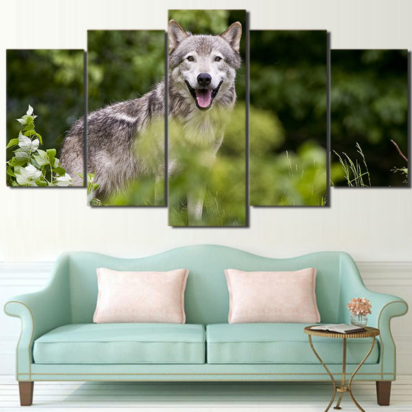 HD Printed 5 Piece Canvas Art Wild Forest Wolf Painting Wall Pictures for Living Room Modern Free Shipping CU-2295C