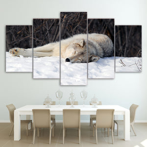 5 piece canvas art HD printed snow wolf painting modular wall pictures for living room home decoration Free Shipping CU-2365B