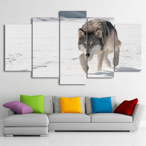 HD printed 5 Piece Canvas Art Snow Wolf Painting Animal Wall Pictures for living room Modern Modular Free Shipping CU-2103A
