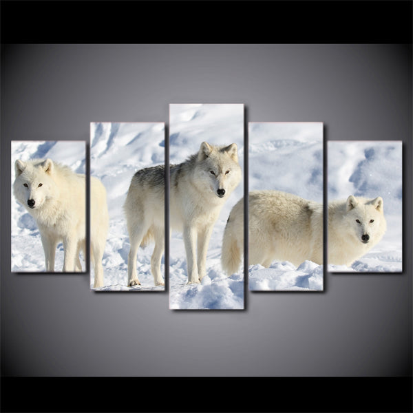 HD printed 5 piece canvas art white wolves in snow painting wall pictures for living room modern free shipping CU-2018C