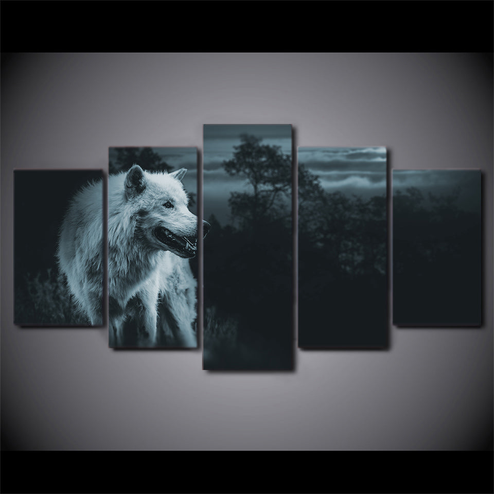 HD printed 5 piece canvas art night wolf in forest painting wall pictures for living room modern free shipping CU-1808B