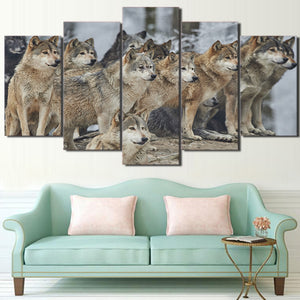 5 Pieces Canvas Art Painting Printed Brown Wolf Group Wall Art Print Framed Canvas Painting Home Decor For Living Room CU-2368B