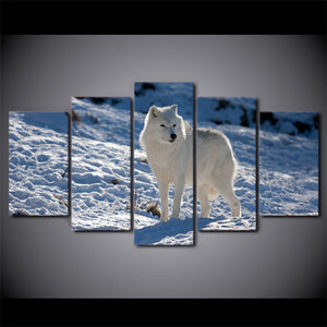 HD Printed 5 Piece Canvas Art White Snow Wolf Painting Snow Mountain Wall Pictures for Living Room Decor Free Shipping CU-1863B