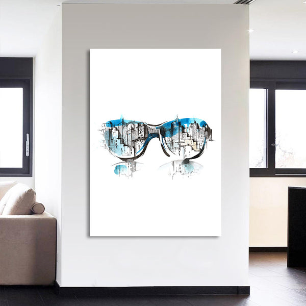 HD Printed 1 Piece Abstract Guitar Glasses Pipe Man Canvas Painting Wall Pictures Posters and Prints Free Shipping XXX
