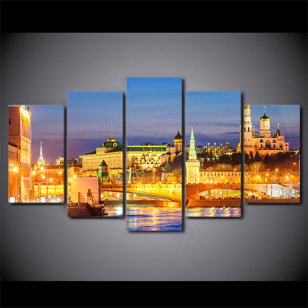 HD Printed 5 Piece Canvas Art Moscow Houses Rivers Bridges Painting Sunset landscape for home wall living room decor NY-7278B