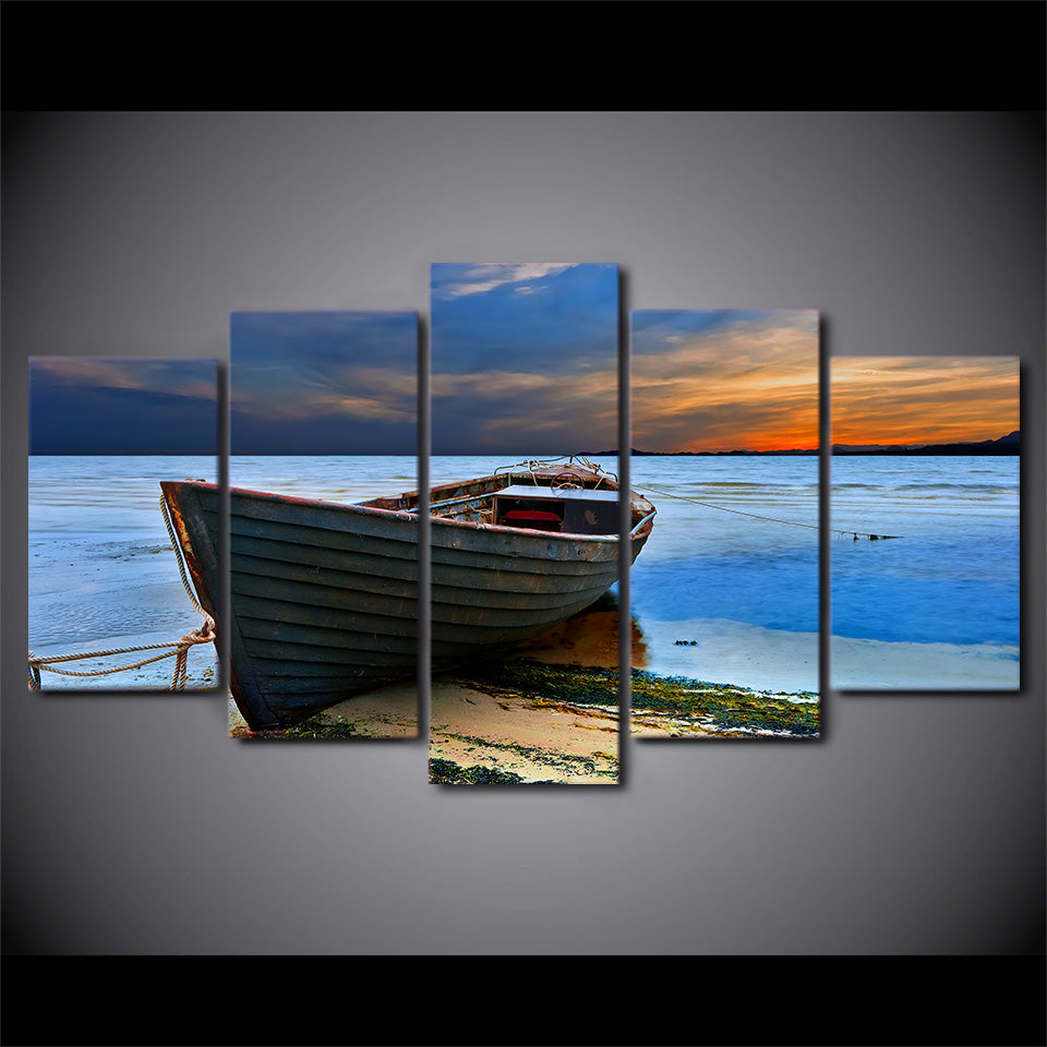 HD Printed 5 Piece Canvas Art Fishing Boat Painting Framed Modular Seascape Wall Pictures for Living Room Free Shipping CU-2482B