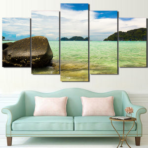 HD Printed 5 Piece Canvas Art Seaside Painting Modular Seascape Wall Pictures for Living Room Home Decor Free Shipping CU-2343B
