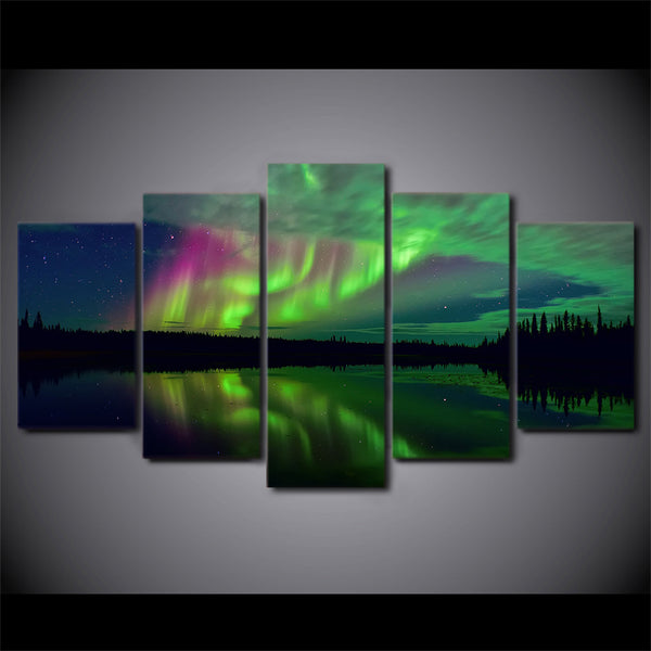 HD Printed 5 Piece Canvas Art Aurora Lake Shadow Landscape Painting Wall Pictures for Living Room Modern Free Shipping NY-6792B