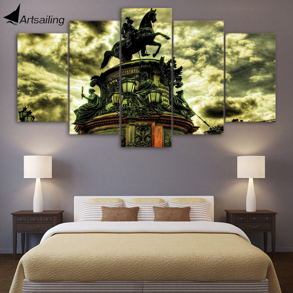 HD printed 5 piece Canvas Painting Building horse statue Artwork living room decor posters and prints free shipping ny-6517