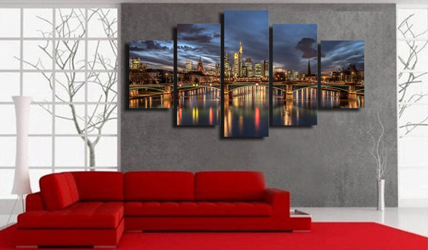 5 piece wall art canvas painting HD Printed city night view light room decor print poster picture canvas Free shipping/ny-6035