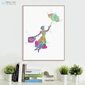 Modern Watercolor Aunt Mary Magical A4 Print Poster Pop Film Flying Wall Art Picture Canvas Baby Kids Room Deco Paintin No Frame