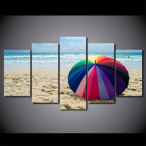 HD Printed 5 Piece Canvas Art Beach Painting Rainbow Umbrella Wall Pictures Decor Framed Modular Painting Free Shipping CU-2405B