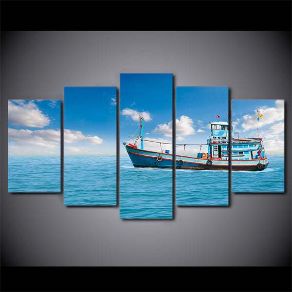 HD Printed 5 Piece Canvas Art Sailing Boat Painting Modular Blue Sea Wall Pictures Framed Painting Free Shipping CU-2089A
