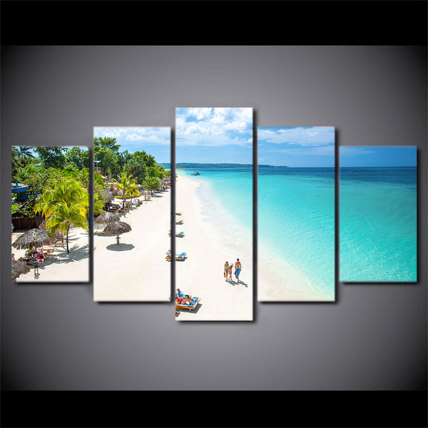 HD Printed 5 Piece Canvas Art Tropical Beach Painting Blue Sea Wall Pictures for Living Room Home Decor Free Shipping CU-2344A