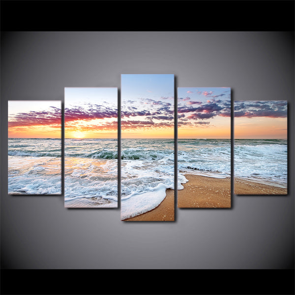 HD Printed 5 Piece Canvas Art Sunset Sea Wave Painting Wall Pictures for Living Room Beach Poster Free Shipping CU-2536C