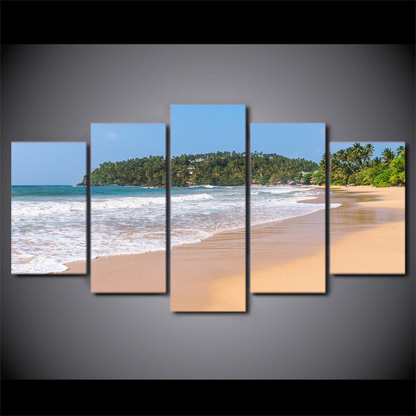 HD Printed 5 Piece Canvas Art Seascape Wave Painting Beach Framed Wall Pictures for Living Room Modern Free Shipping CU-2274C