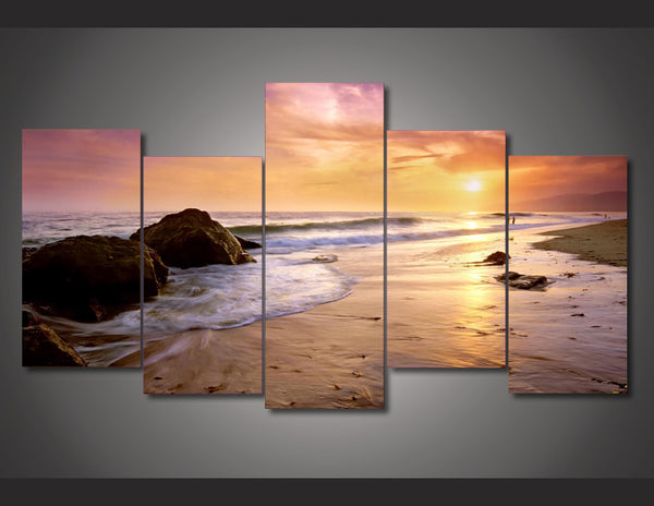 HD Printed seaview seascape sunset beach Painting wall art room decor print poster picture canvas Free shipping/ny-4080