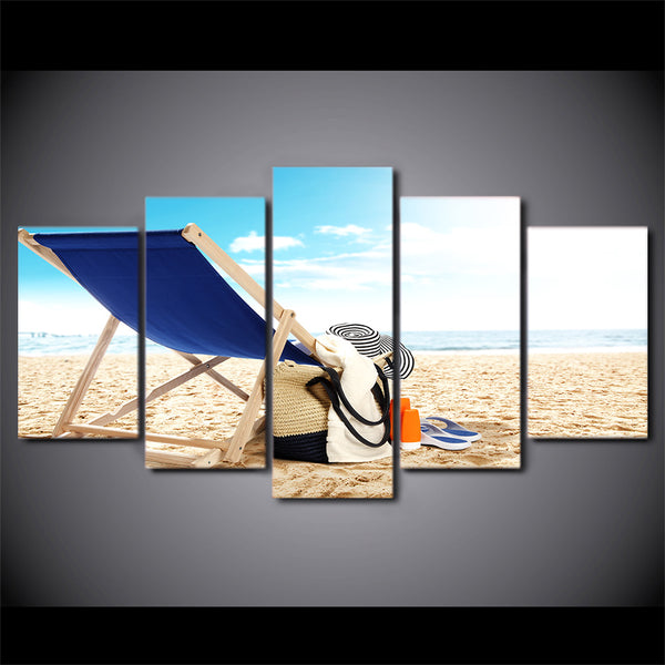 HD Printed 5 Piece Canvas Art Beach Painting Clothes Framed  Wall Pictures Decor Framed Modular Painting Free Shipping CU-2079C