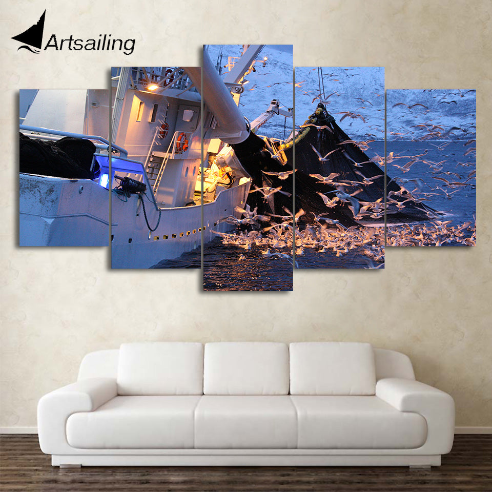 HD Printed 5 Piece Canvas Art Sea Swallow Painting Boat Wall Pictures Decor Framed Modular Painting Free Shipping CU-2090B