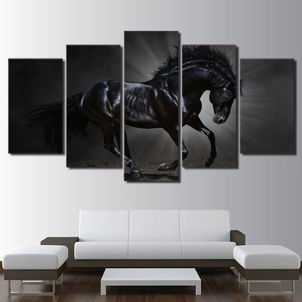 HD Printed canvas art running black horse painting steed poster Home Decor wall pictures for living room Artsailing