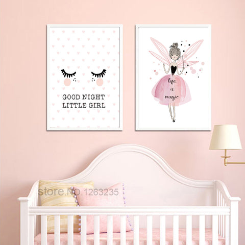 Little Girl Pink Nursery Posters And Prints Fairy Nordic Poster Wall Art Canvas Painting Wall Pictures For Living Room Unframed