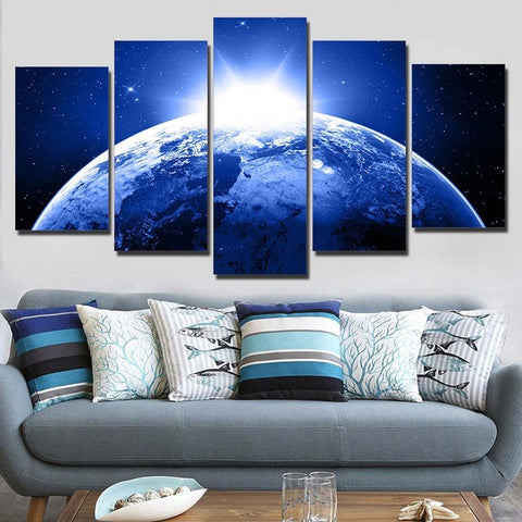 HD Printed canvas art earth planet stars space sunlight painting poster Home Decor wall pictures for living room Artsailing