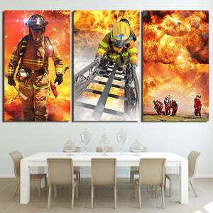 HD Printed 3 Piece Canvas Art Fireman Fire Flame Fighting Painting Wall Pictures for Living Room Modern Free Shipping NY-6918D