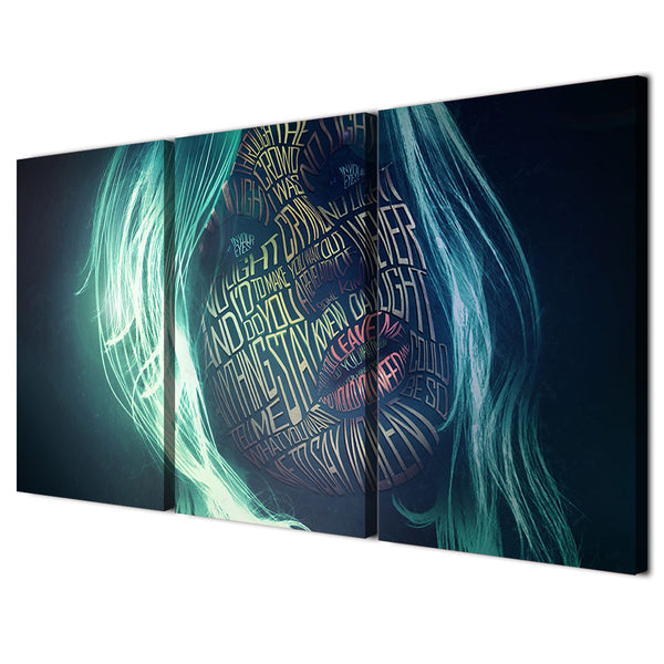 HD printed 3 piece canvas art women letter graffiti face Painting abstract painting posters and prints Free shipping/NY-6553