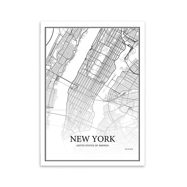 Map Of New York Poster.900d Nordic Style Canvas Art Print Painting Poster New York City Map Wall Pictures For Home Decoration Wall Decor Nor39