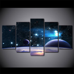HD printed 5 Piece Canvas Painting Universe Galaxy Starry Sky Posters Modular Wall Pictures for Living Room Home Decor NY-7268B