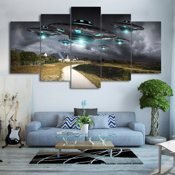 HD Printed 5 Piece Canvas Art Flying UFO Painting Dark Sky Wall Pictures Decor Framed Modular Painting Free Shipping CU-2077C
