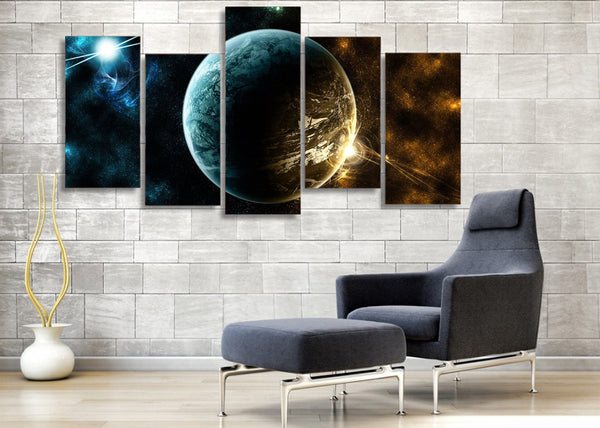5 piece HD Printed planet universe Starry sky Painting Canvas Print room decor print poster picture canvas Free shipping/ny-6080