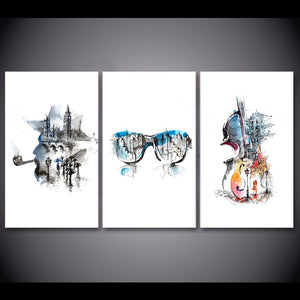 HD Print 3 piece Canvas Art Abstract Elegant Guitar Painting Music Wall Poster and Prints Room Decor Free Shipping  CU-2774C