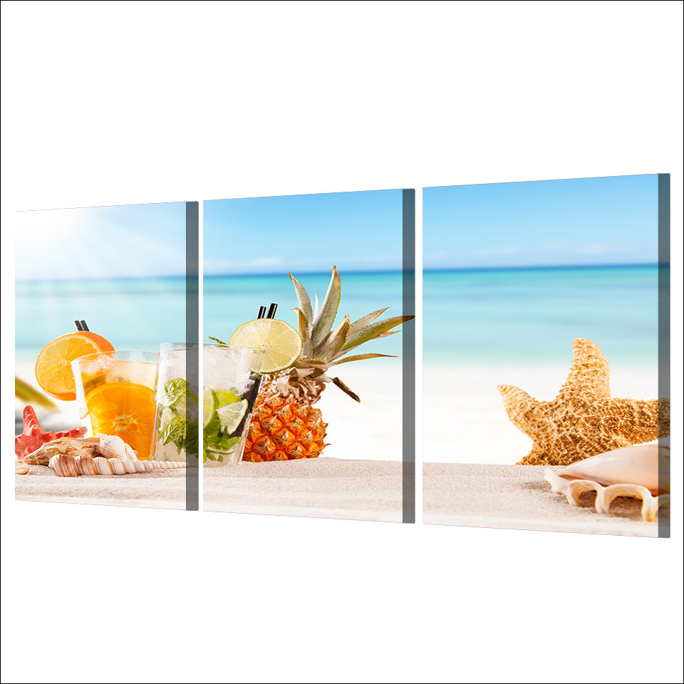 HD Printed 3 Piece Canvas Art Ice Fruit Drink Painting Beach Poster Shells Wall Pictures for Living Room Free shipping NY-6969D