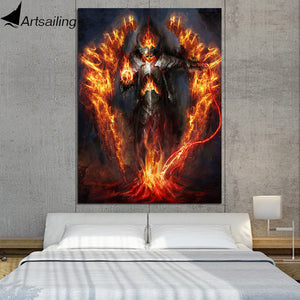 1 Piece Canvas Art Fantasy Warrior Burning Armor Poster HD Printed Wall Art Home Decor Canvas Painting Picture Prints NY-6605C