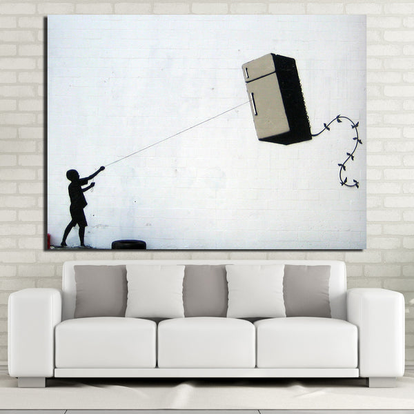 HD Printed 1 Piece Canvas Art Banks Posters Street Graffit Painting Wall Pictures for Living Room Modern Free Shipping  NY-7064C