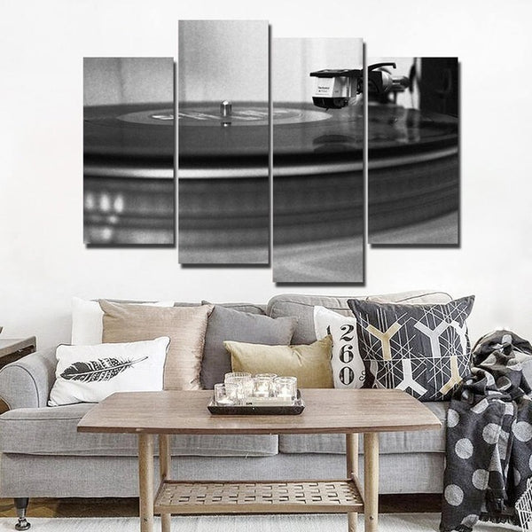HD Printed canvas art music CD record painting Home Decor black and white DJ player wall pictures for living room Artsailing