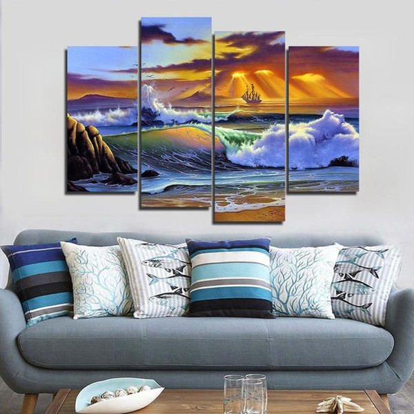 HD Printed canvas art tidal painting seascape color sunset poster Home Decor wall pictures for living room Artsailing