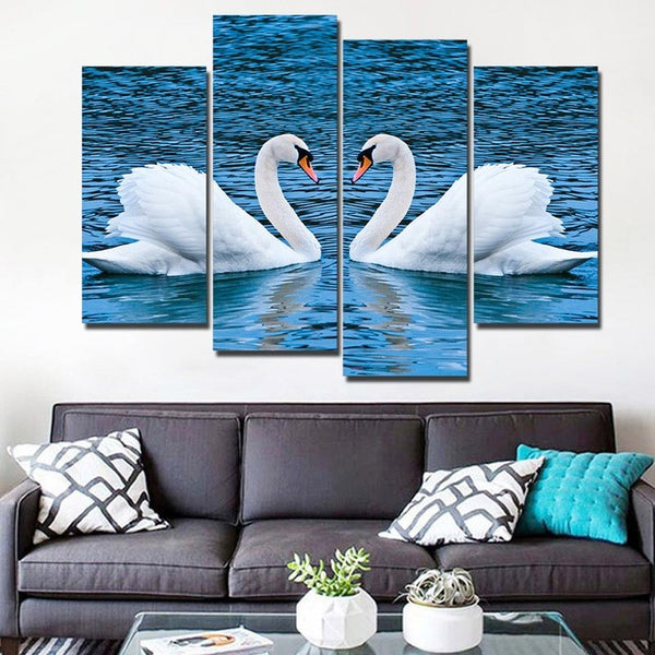 HD Printed canvas art white swan couple painting Home Decor waterfowl in blue sea wall pictures for living room Artsailing