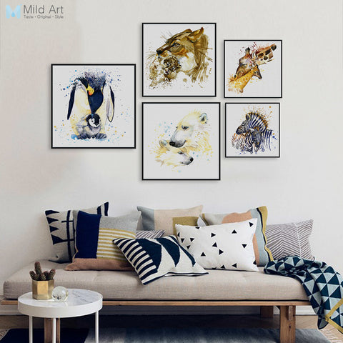 Nordic Watercolor Animals Mother Family Bear LionPoster Prints Wall Art Picture Canvas Paintings No Frame Living Room Home Decor