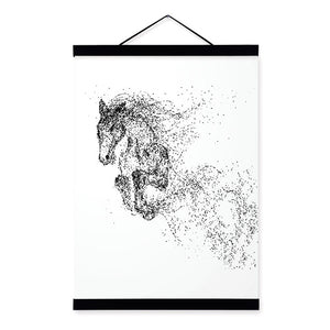Abstract Black White Ink Animal Wolf A4 Wooden Framed Poster Minimalist Wall Art Canvas Painting Picture Print Home Decor Scroll Write Review