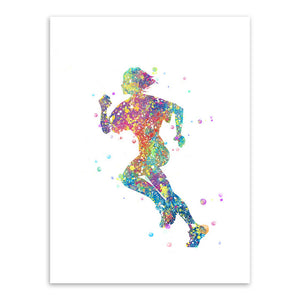 Triptych Modern Abstract Watercolor Running Art Print Poster Sports Man Wall Picture Canvas Paintin Boys Room Home Deco No Frame